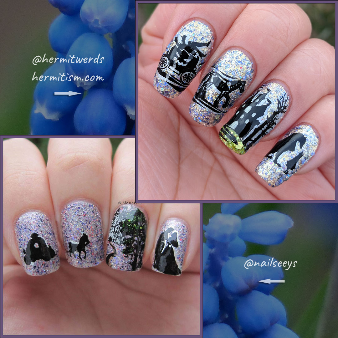 Recreation of @nailseeys nail art - Hermit Werds - double stamping of nightmare carriage, castle, and giant wolf and girl on a glittery background