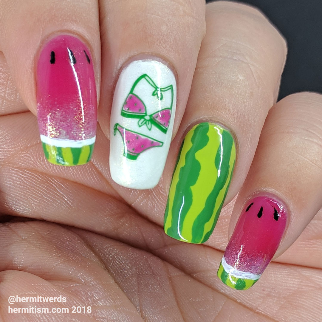Juicy Watermelon - Hermit Werds - watermelon nail art with two french tips and a watermelon bikini