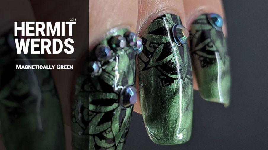Magnetically Green - Hermit Werds - green magnetic base with black stamping and chameleon black rhinestones on top