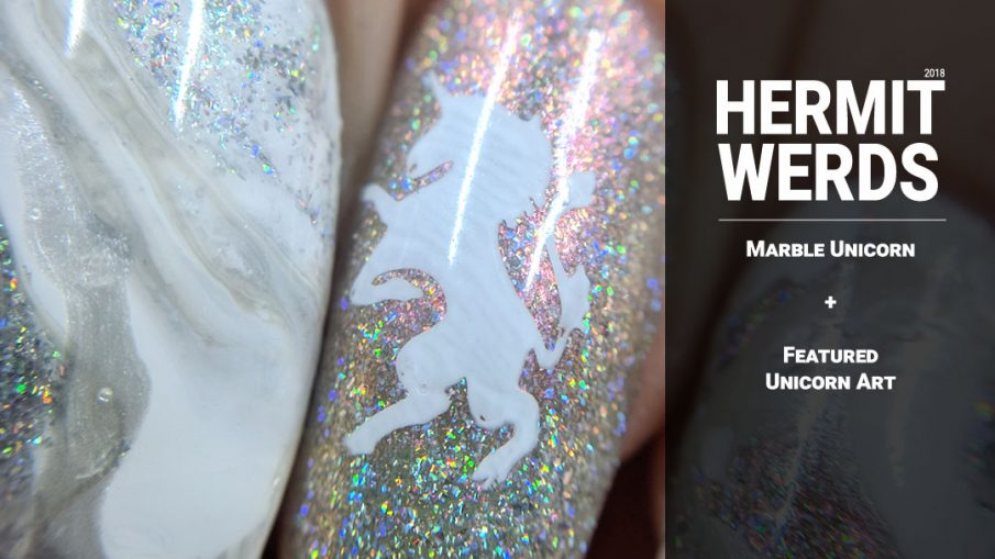 Marble Unicorn - Hermit Werds - white marble nails with swirls of shimmery holo and pearl with a unicorn rampant accent nail