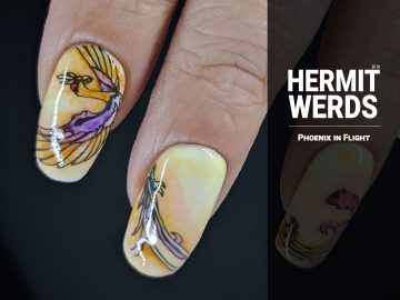 Phoenix in Flight - Hermit Werds - vertically stacked phoenix design filled in with watercolor paints in yellow, orange, red, and purple