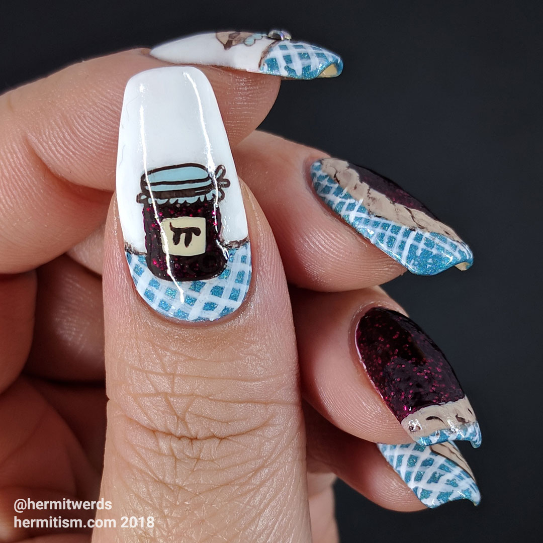 Pi Day 2018 - Hermit Werds - raspberry pie nails on a checkered blue cloth