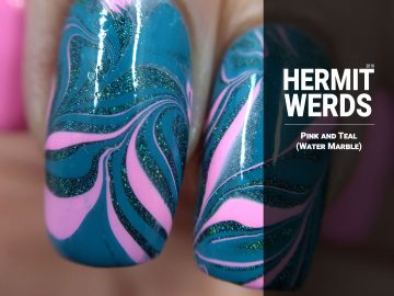 Pink and Teal - Hermit Werds - water marble with pink and teal, including Black Heart's holographic Teal Galaxy