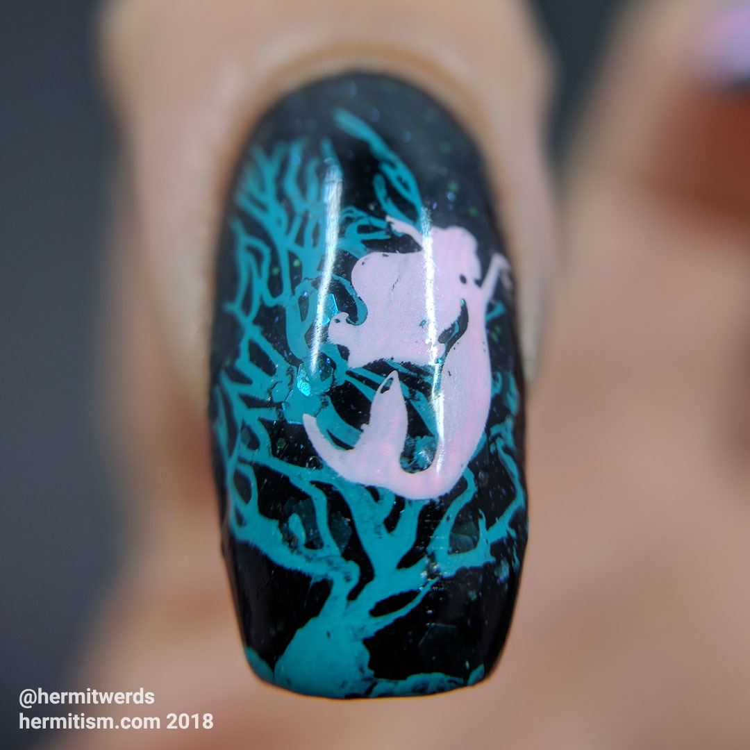 Rejected mermaid and coral stamping - Hermit Werds