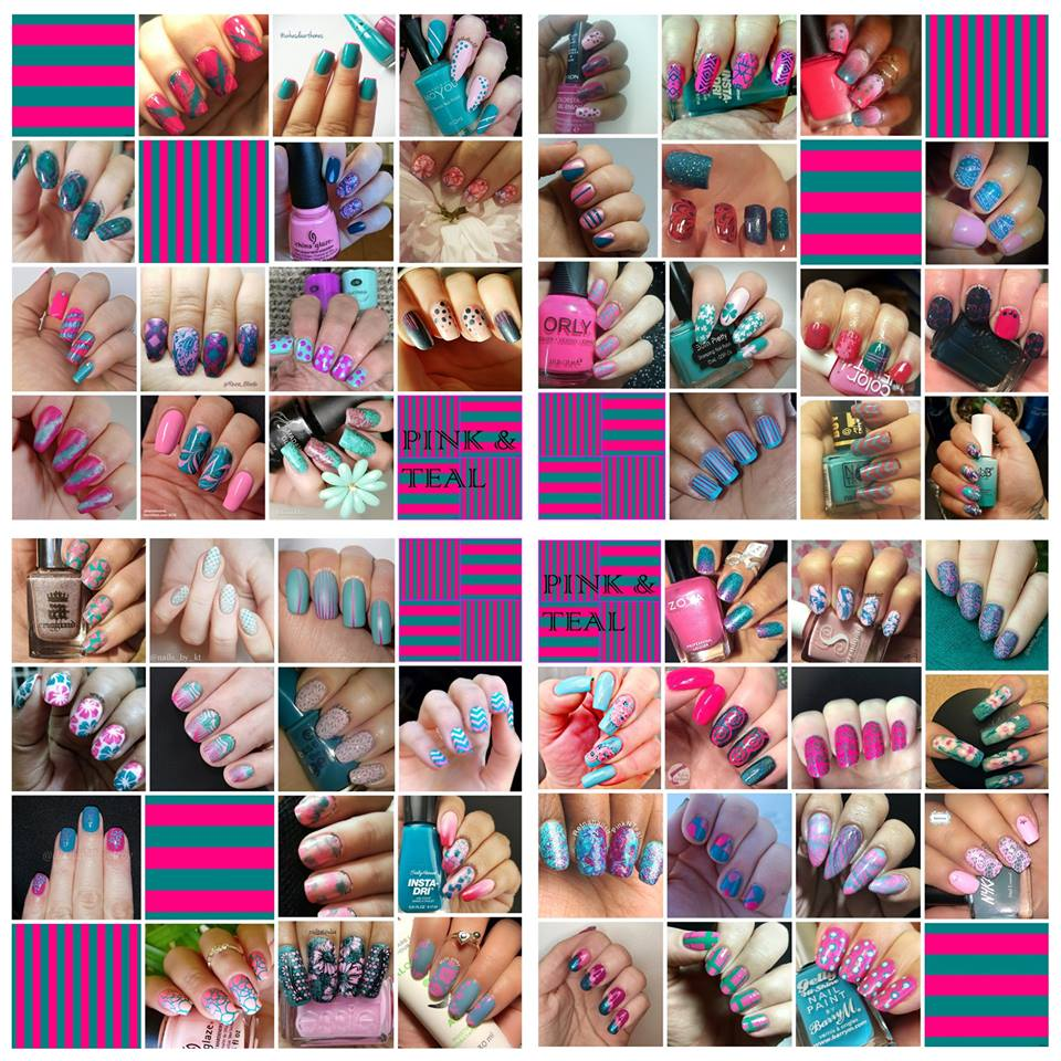 #WhenColoursCollide - Pink and Teal collage