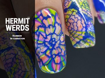 Rainbow In-carnation - Hermit Werds - rainbow water marble with blue carnation stamping on top