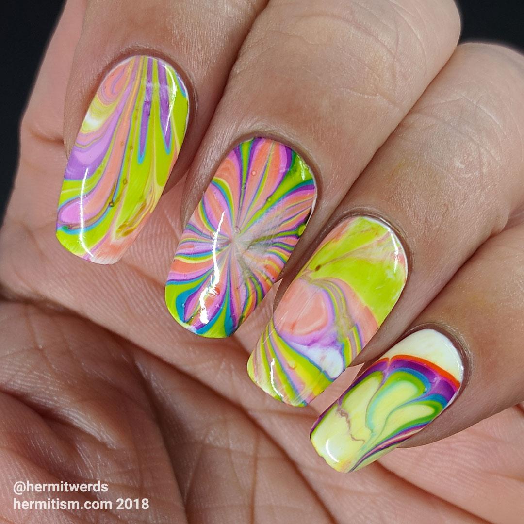 Rainbow In-carnation - Hermit Werds - rainbow water marble