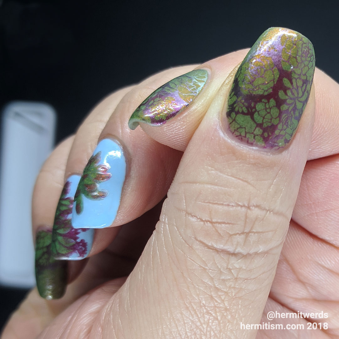 Simple Succulents - Hermit Werds - succulent design with red shimmer, and stamping in metallic red, purple, and green