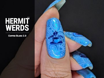 Coffee Blues 2.0 - Hermit Werds - blue monochrome coffee-themed nail art