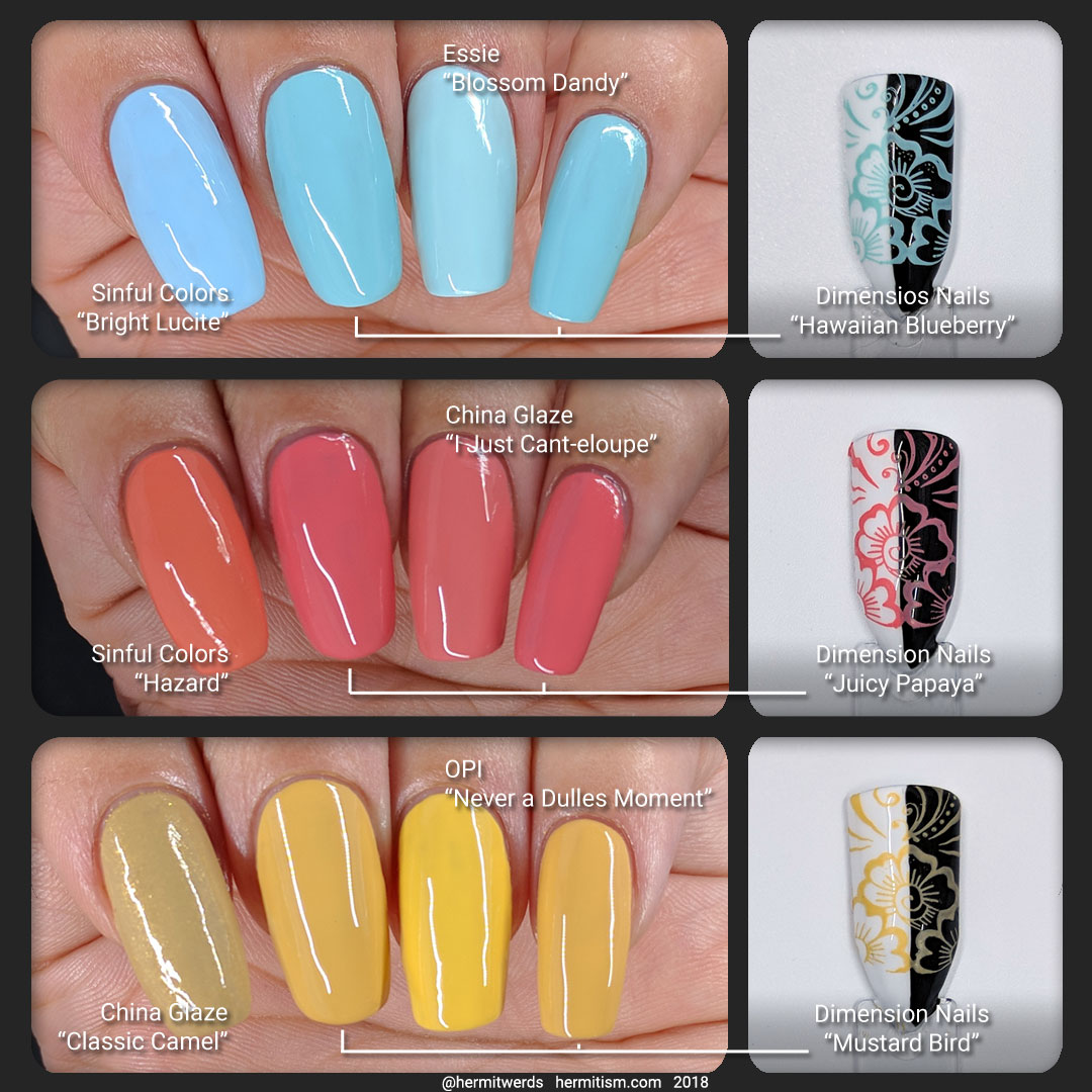 """Dimension Nails swatches - Hermit Werds - color comparison and stamping info graphic for Dimension Nails """"Hawaiian Blueberry"""", """"Juicy Papaya"""", and """"Mustard Bird"""""""