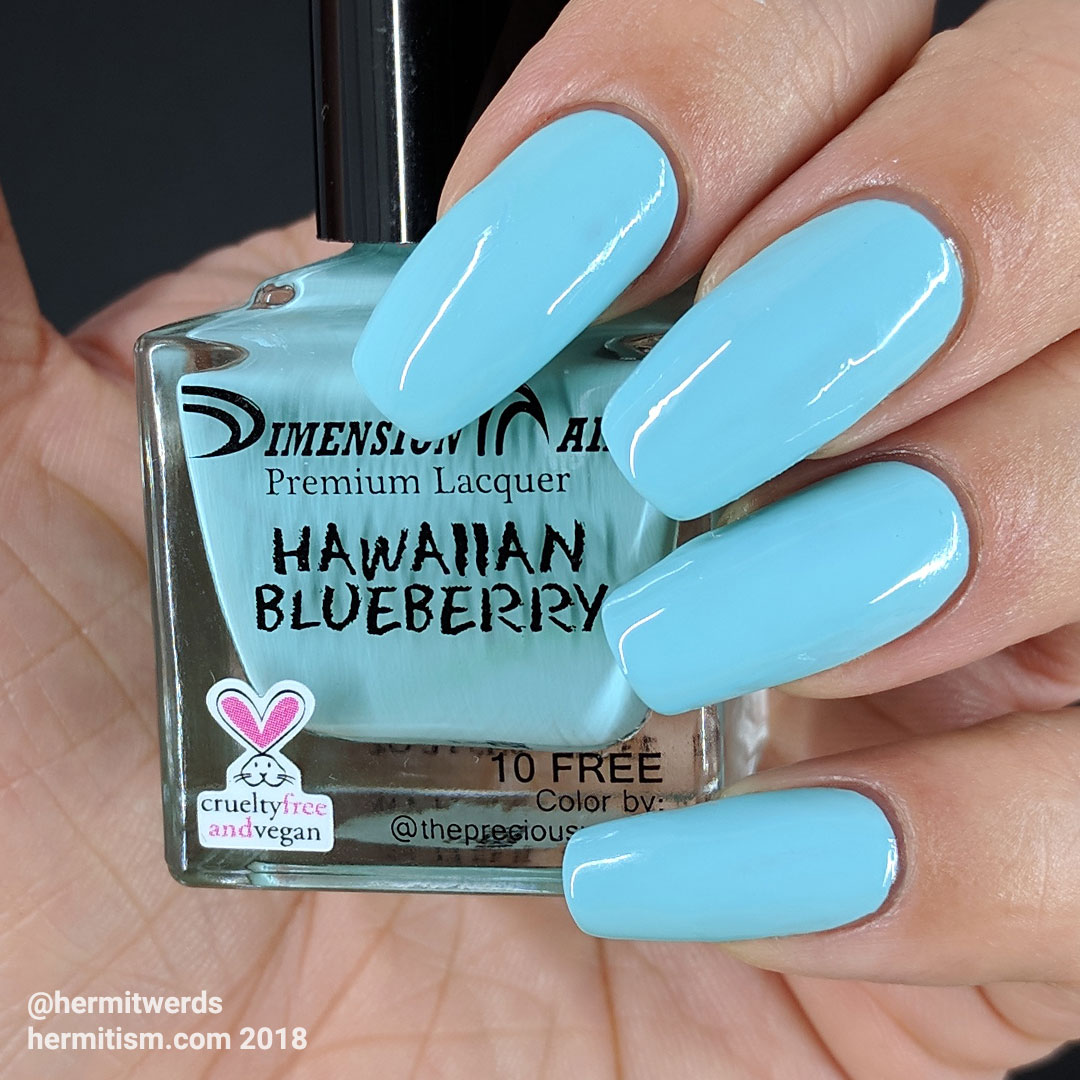 "Dimension Nails' ""Hawaiian Blueberry"" - Hermit Werds - swatch photo of light, bright cyan creme polish"