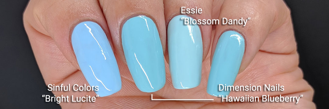 """Dimension Nails' """"Hawaiian Blueberry"""" comparison swatch - Hermit Werds - swatched with Essie's """"Blossom Dandy"""" and Sinful Colors' """"Bright Lucite"""""""