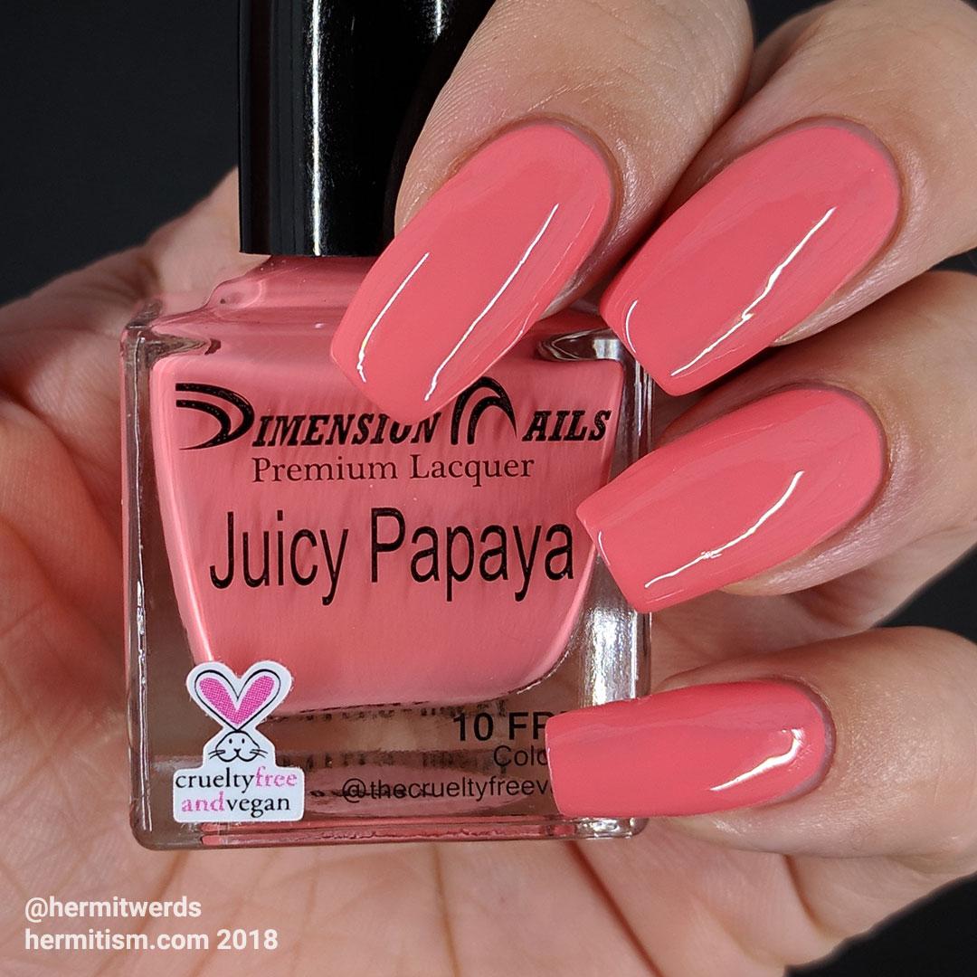 """Dimension Nails' """"Juicy Papaya"""" - Hermit Werds - swatch photo of coral-y melon creme polish"""