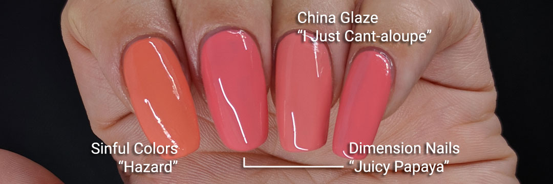 """Dimension Nails' """"Juicy Papaya"""" comparison swatch - Hermit Werds - swatched with Sinful Colors' """"Hazard"""" and China Glaze's """"I Just Cant-eloupe"""""""