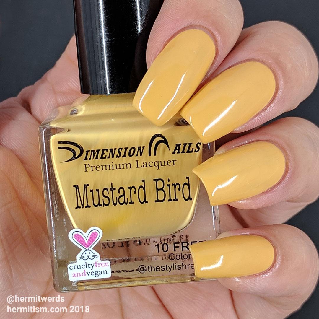 "Dimension Nails' ""Mustard Bird"" - Hermit Werds - swatch photo of light mustard yellow creme polish"