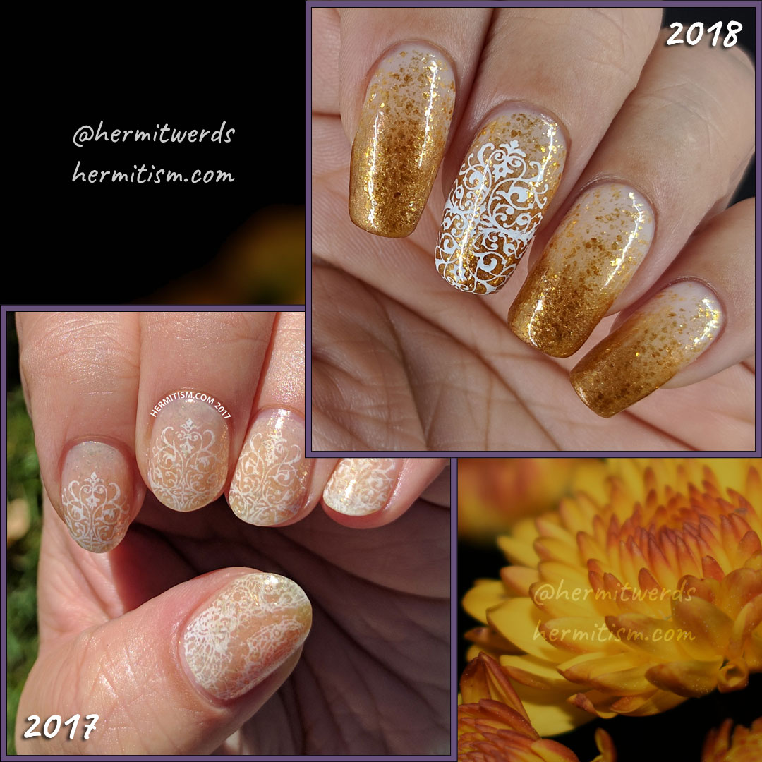 Golden for Office - recreated - Hermit Werds - glittery gold baby boomer french tip with a lacy accent nail