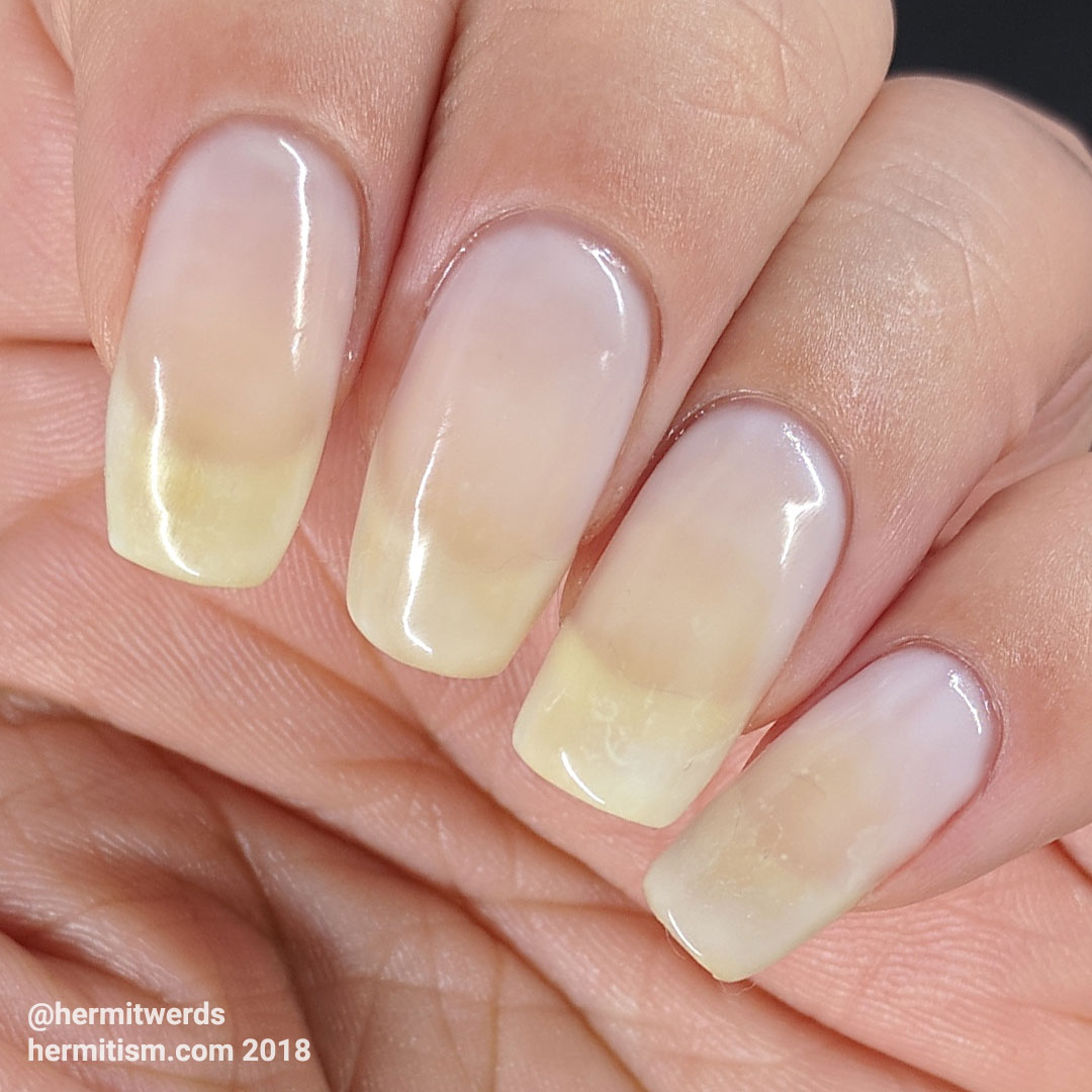 Born Pretty opal white gel swatch - Hermit Werds - on natural nails