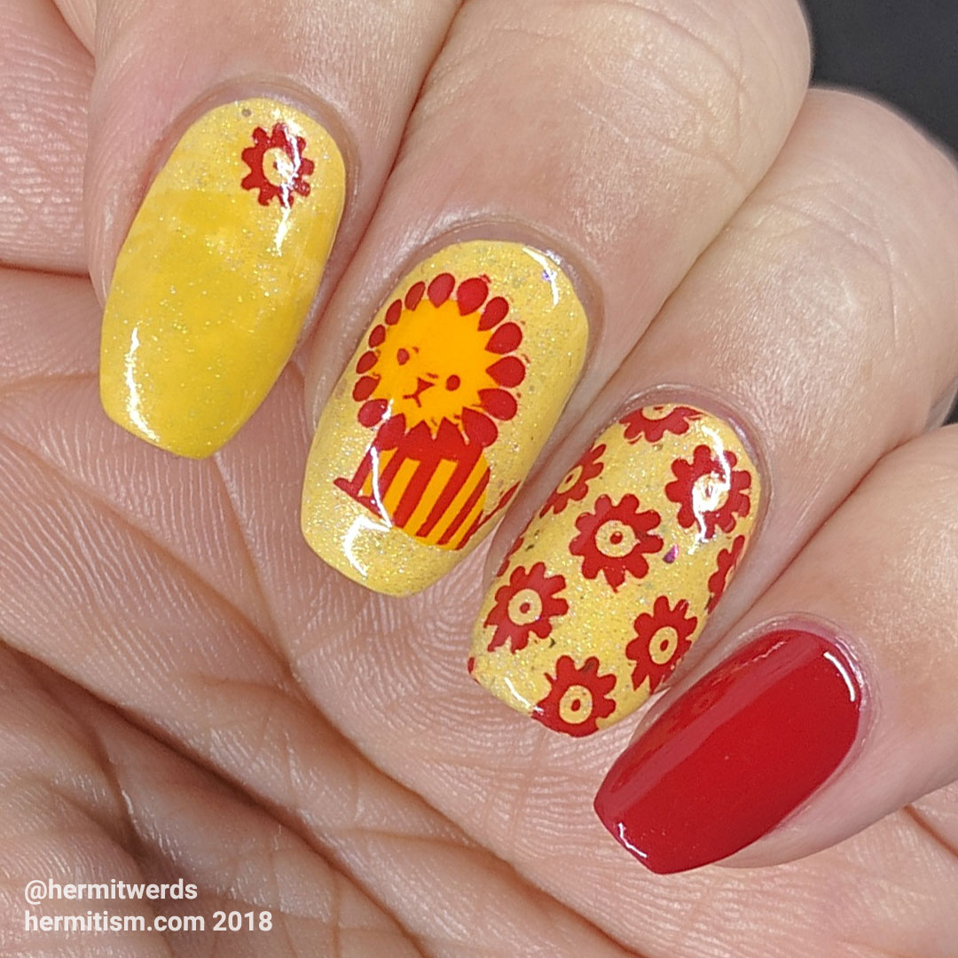 Lions Want Meat Not Flowers - Hermit Werds - bright yellow and red nail art featuring a grumpy lion, flowers, and ham