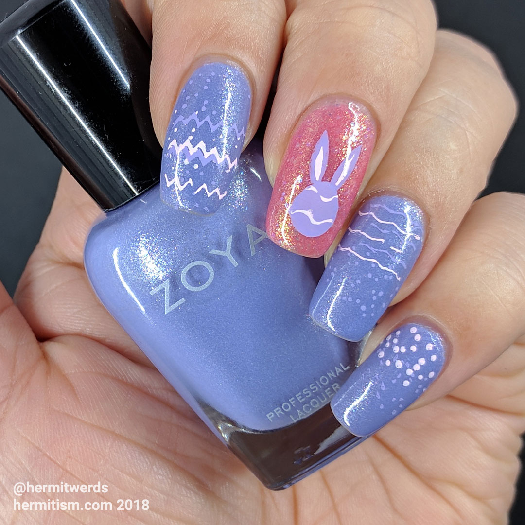 Pastel Easter - Hermit Werds - purple and pink easter egg pattern-ed nails
