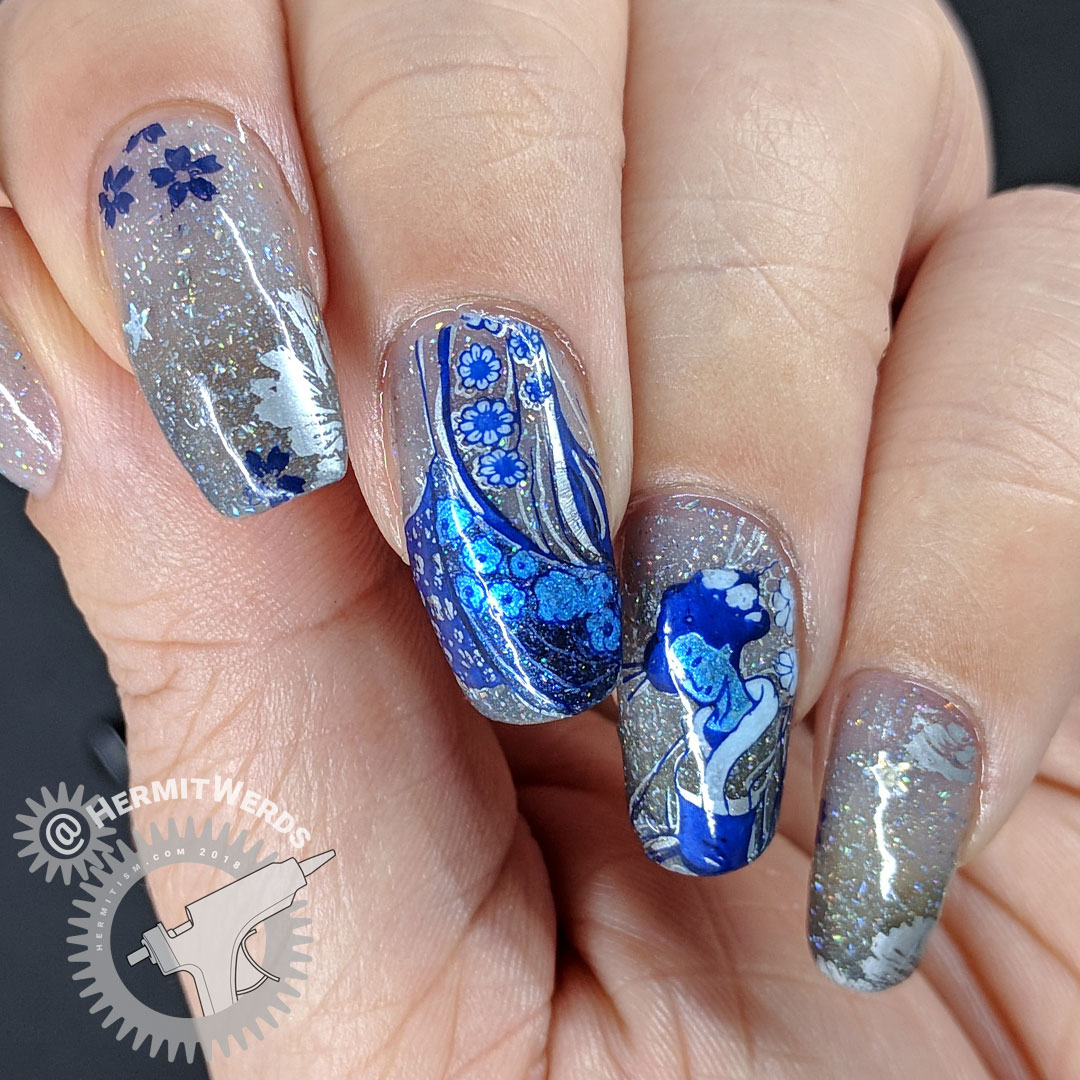 Stars of the Orient - Hermit Werds - shimmery blue floral kimono stamping on a blue grey glitter filled background