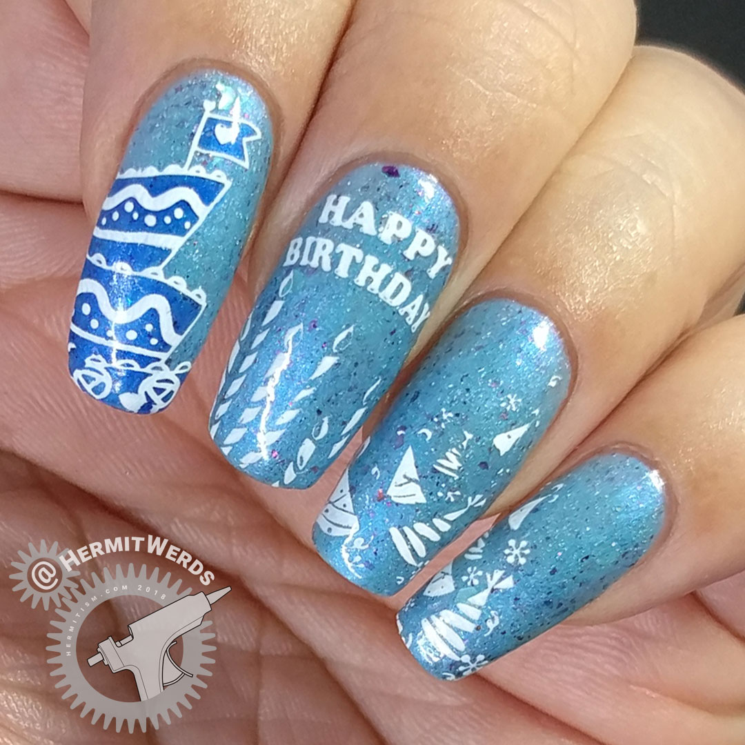 Beautometry's 6th Birthday - Hermit Werds - birthday nails with party hats, candles, and a big blue cake