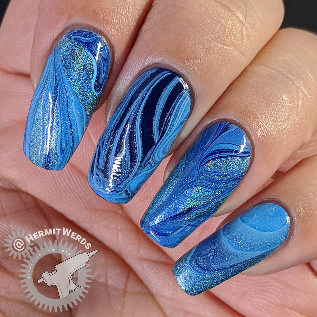 Blue Water Marble - Hermit Werds - blue water marble with four nail polishes