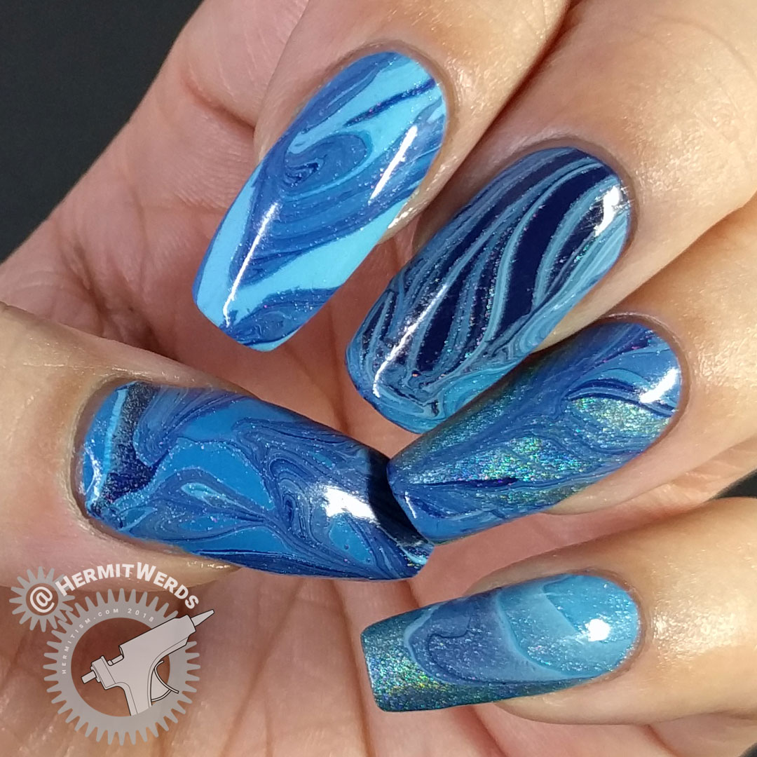 Blue Water Marble (nail fail) - Hermit Werds - blue water marble with four nail polishes