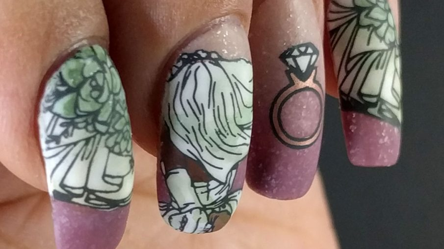 Dusty Rose & Green Wedding - Hermit Werds - dusty rose and green nail art with beautiful succulents, ruffles, and bride