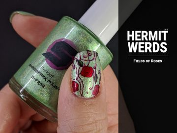 Fields of Roses - Hermit Werds - nail art of red rose vines against a green holographic background
