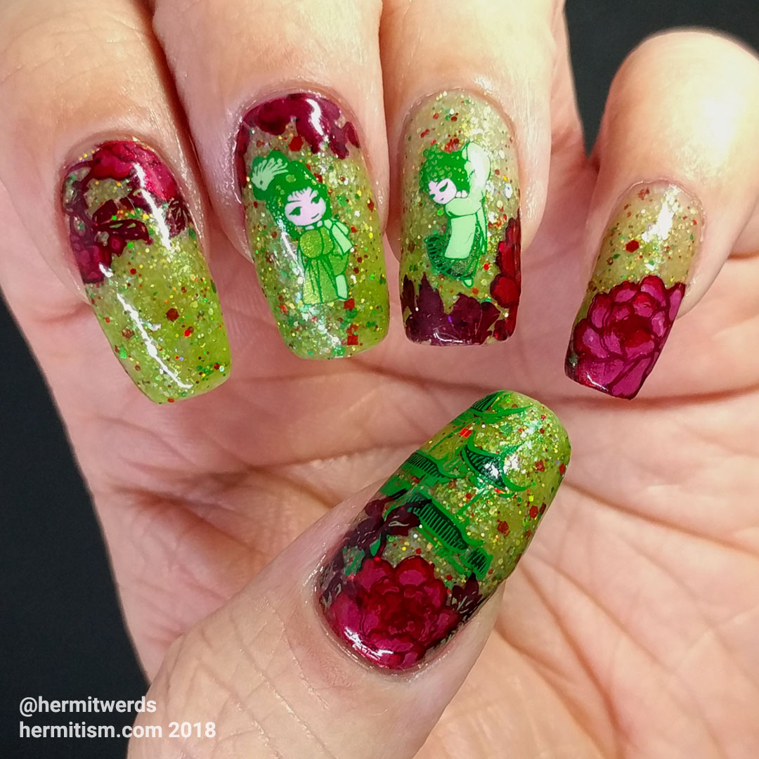 Flowers for Molly - Hermit Werds - red/green thermal polish with red flowers and green Chinese dancing girls