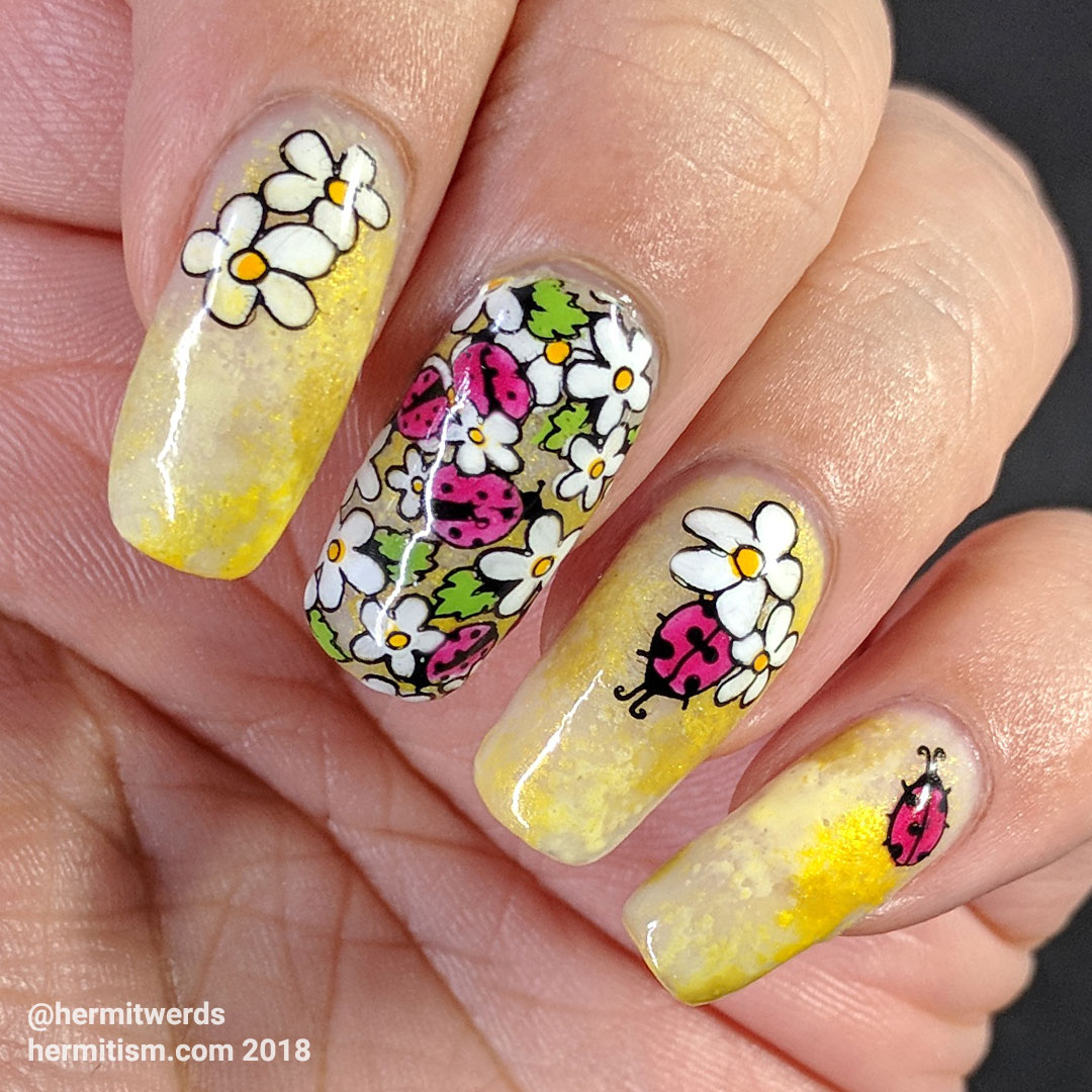 Ladybug Aggregation - Hermit Werds - nail art with soft, sweet ladybugs and daisies against a bright yellow background