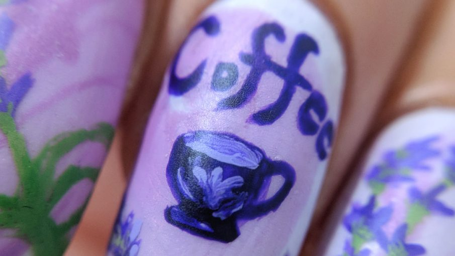 Lavender Coffee - Hermit Werds - nail art with freehand painted lavender to celebrate lavender-flavored coffee