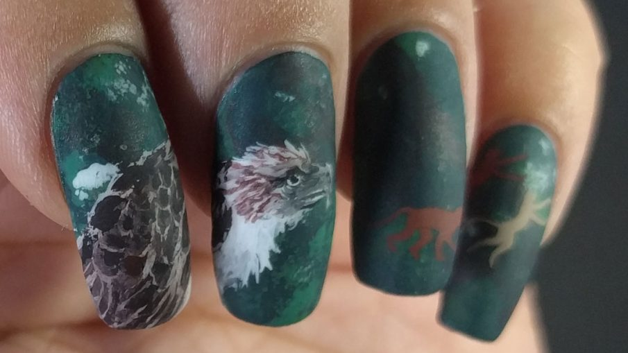 Philippine Monkey-eating Eagle - Hermit Werds - freehand nail art of a Philippine Monkey-eating Eagle on a dark green background with fleeing monkey silhouettes