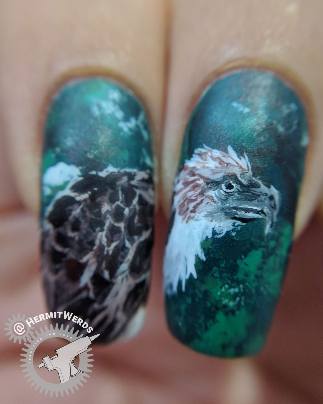 Philippine Monkey-eating Eagle (macro) - Hermit Werds - freehand nail art of a Philippine Monkey-eating Eagle on a dark green background with fleeing monkey silhouettes