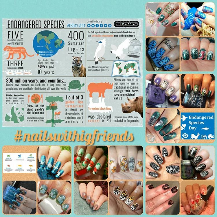#NailsWithIgFriends - Endangered Species collage