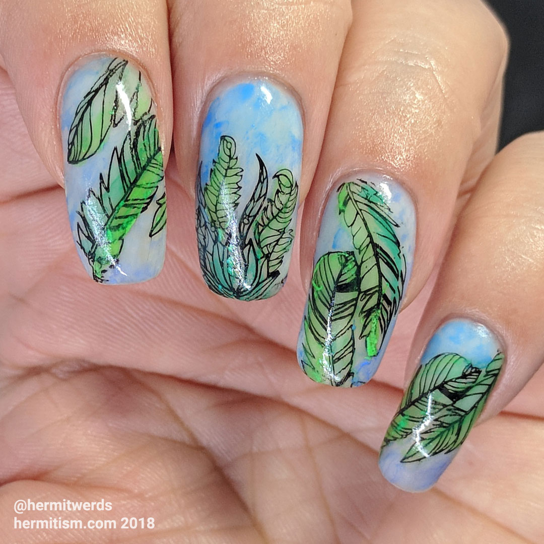 Watercolor Flowers - Hermit Werds - feather nail art filled in with watercolor paints in soft greens and blues