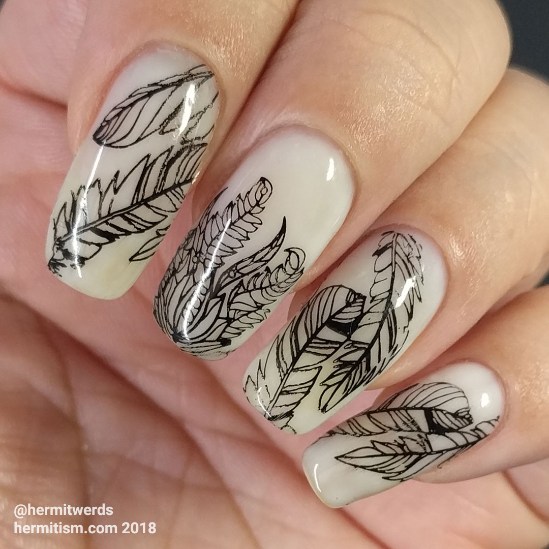Watercolor Flowers (outlines) - Hermit Werds - feather nail art in black and opal white waiting to be painted over
