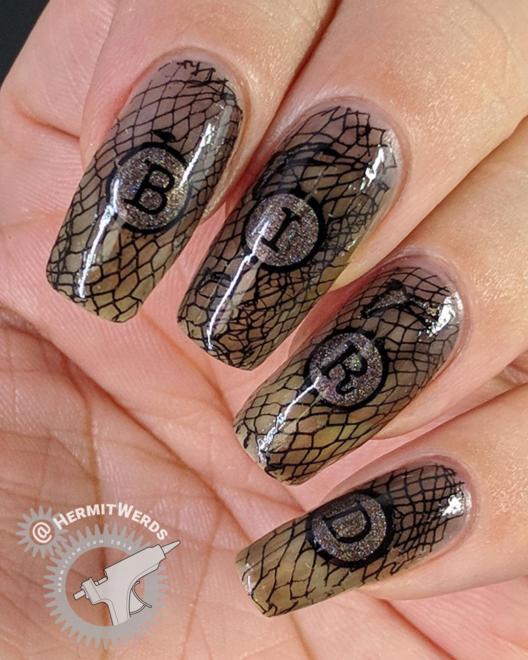 """Black Bird - Hermit Werds - black jelly nail art spelling out """"bird"""" with black birds in flight"""