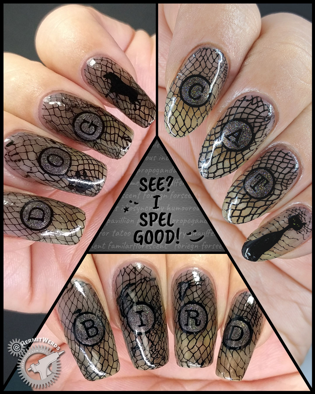 "Black Animals - Hermit Werds - black jelly nail art spelling out ""cat"", ""dog"", and ""bird"" with stamping images of each animal"