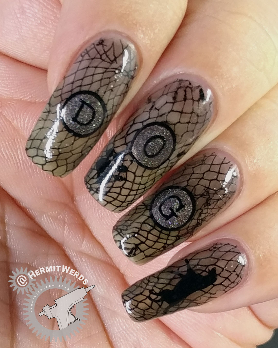 Black Dog - Hermit Werds - black jelly nail art spelling out dog with a black dog and paw print