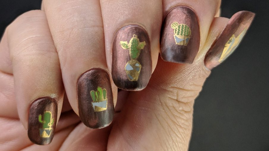 Concrete & Cacti - Hermit Werds - deep terracotta magnetic polish with cacti in concrete planters decals