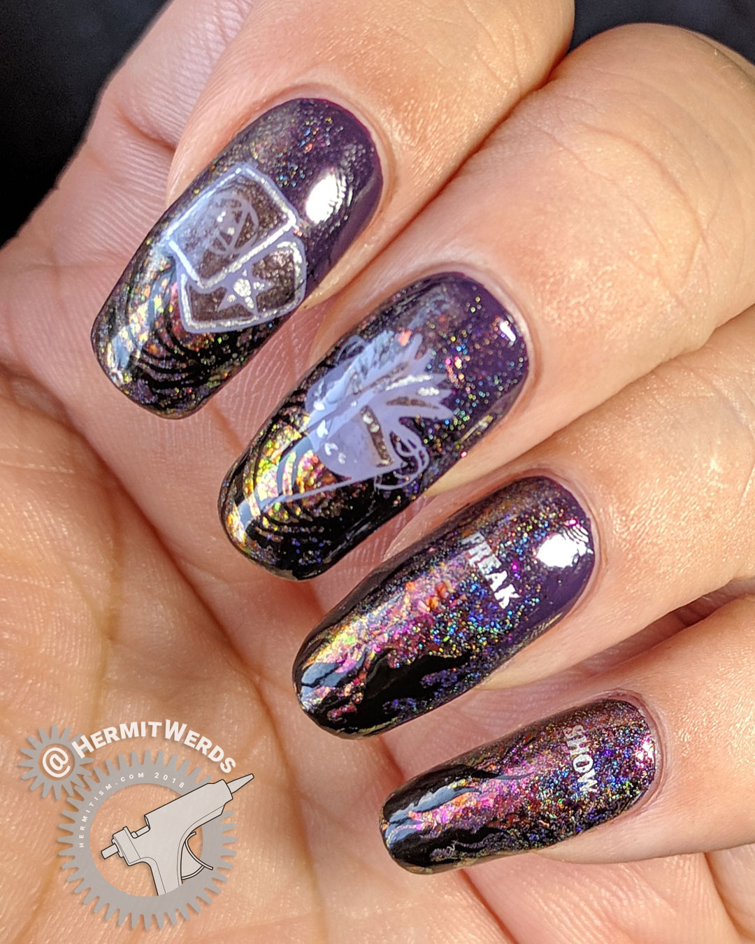 Daughter of a Burning City - Hermit Werds - chameleon flakies on a dark purple background with a circus/freak show theme