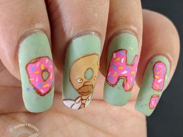 "The Simpsons - Homer the Donut - Hermit Werds - freehand nail art of Homer Simpson turned into a donut head with his catchprase ""Doh"""
