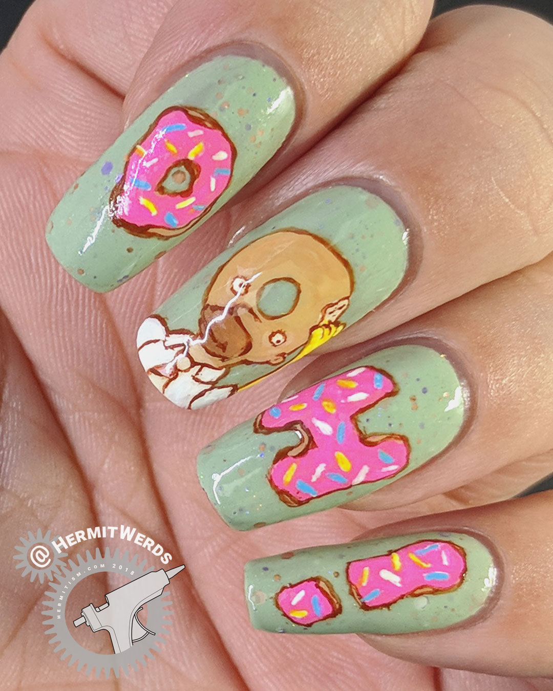 "The Simpsons - Homer the Donut (glossy) - Hermit Werds - freehand nail art of Homer Simpson turned into a donut head with his catchprase ""Doh"""