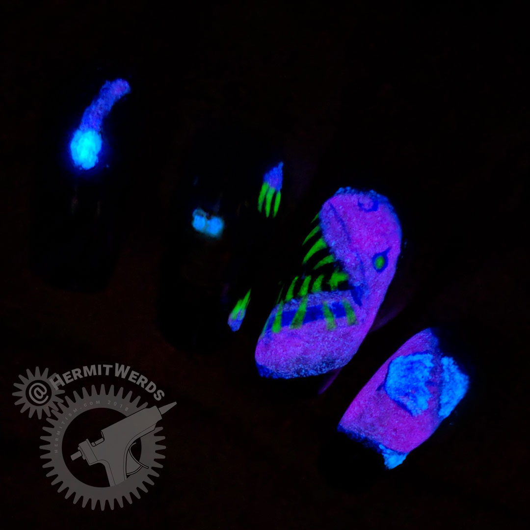 Look Out, Cat! - Hermit Werds - glow in the dark nail art featuring a cat distracted by an angler fish's glowing lure