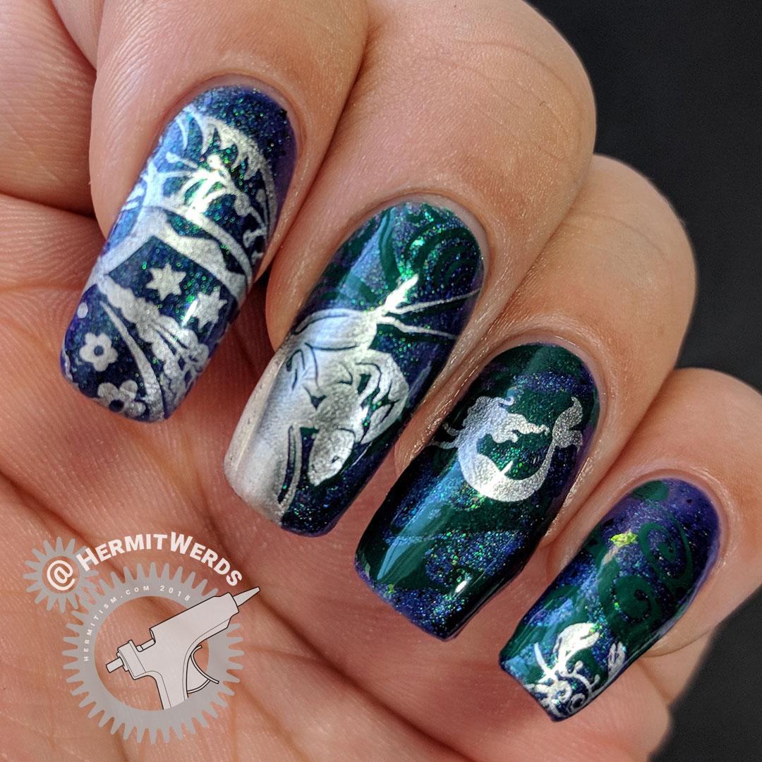 My Mermaid Has Crabs - Hermit Werds - indigo jelly with green to gold multichrome shimmer base with dark green and silver mermaid and giant crab nail stamps