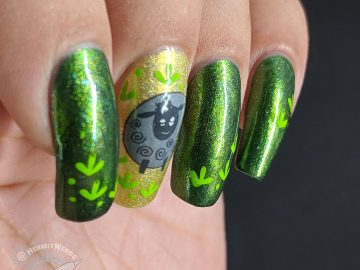 Black Sheep, Green Meadow - Hermit Werds - green nail art with a black sheep stamped on top