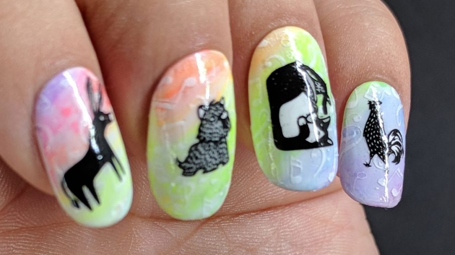 Bremen Town Musicians - Hermit Werds - nail art with a neon rainbow gradient with white musical notes and the Bremen Town Musicians (donkey, dog, cat, and rooster) stamping decals on top
