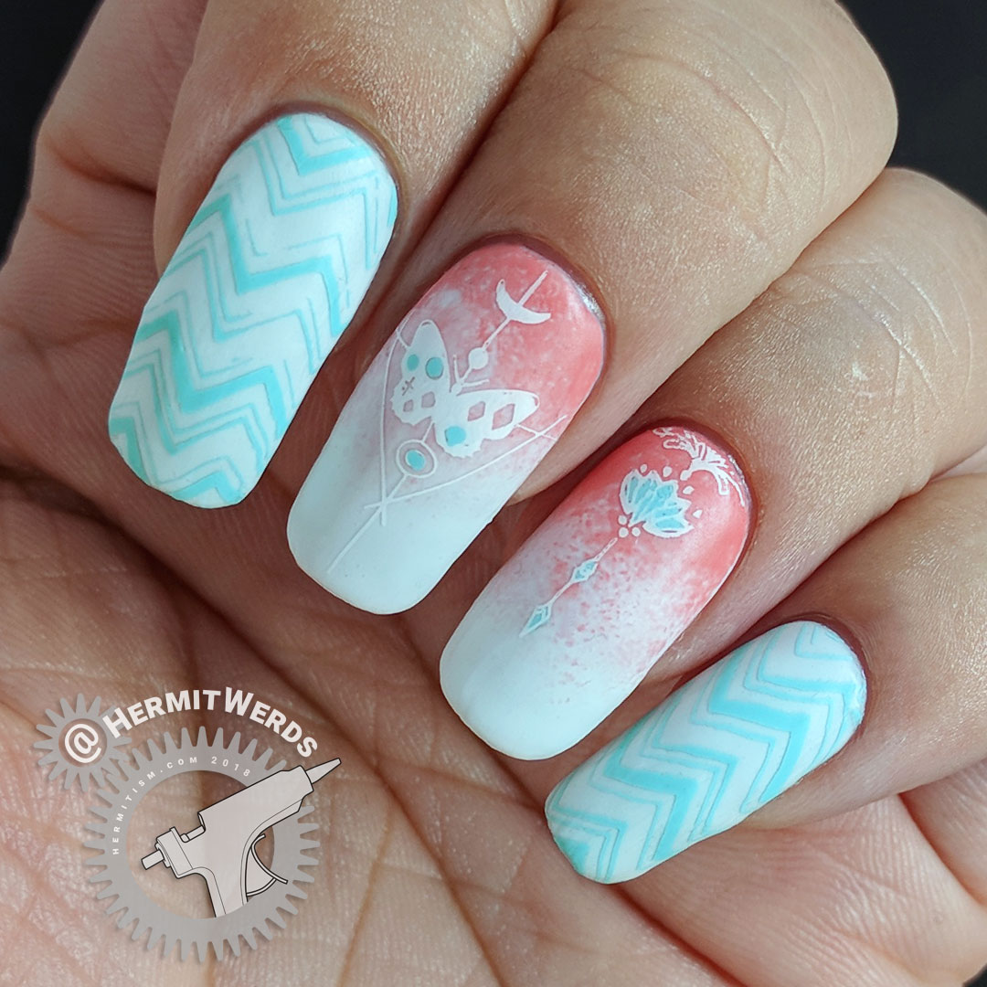 Coral, Mint, and White - Hermit Werds - cool chevron and geometric butterfly/flowering plant stamped on white and coral gradient