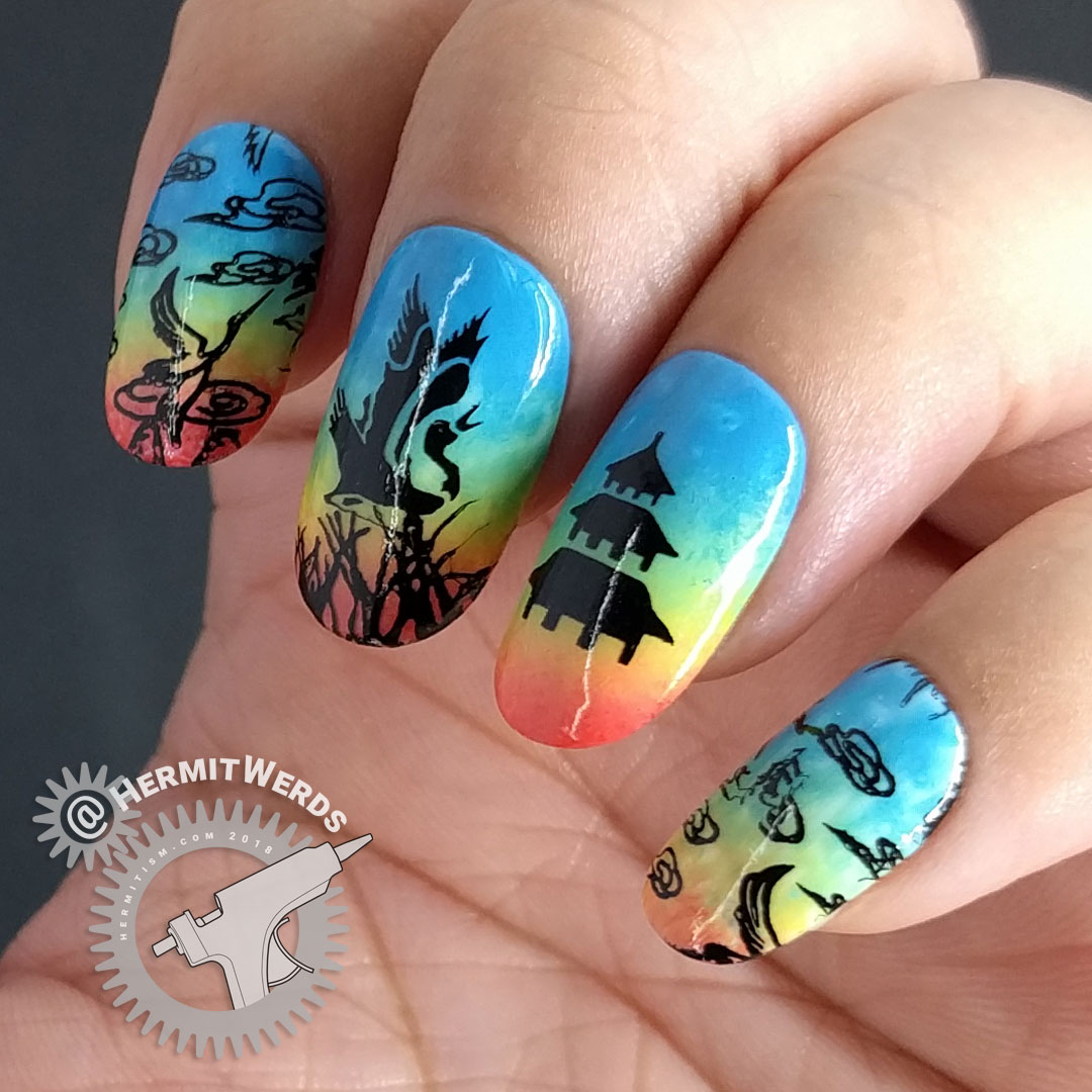 Fifi's Birthday Recreation - Hermit Werds - nail art with a bright rainbow background with clouds, cranes, and an asian temple